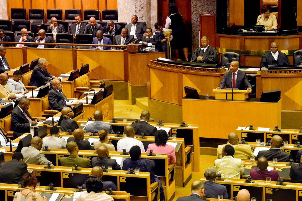 (in the pic - Eastern Cape Premier Phumulo Masualle delivering his address). President Jacob Zuma's State of the Nation Address speech debate in the National assembly in Parliament, Cape Town. 16/02/2016, Elmond Jiyane, GCIS